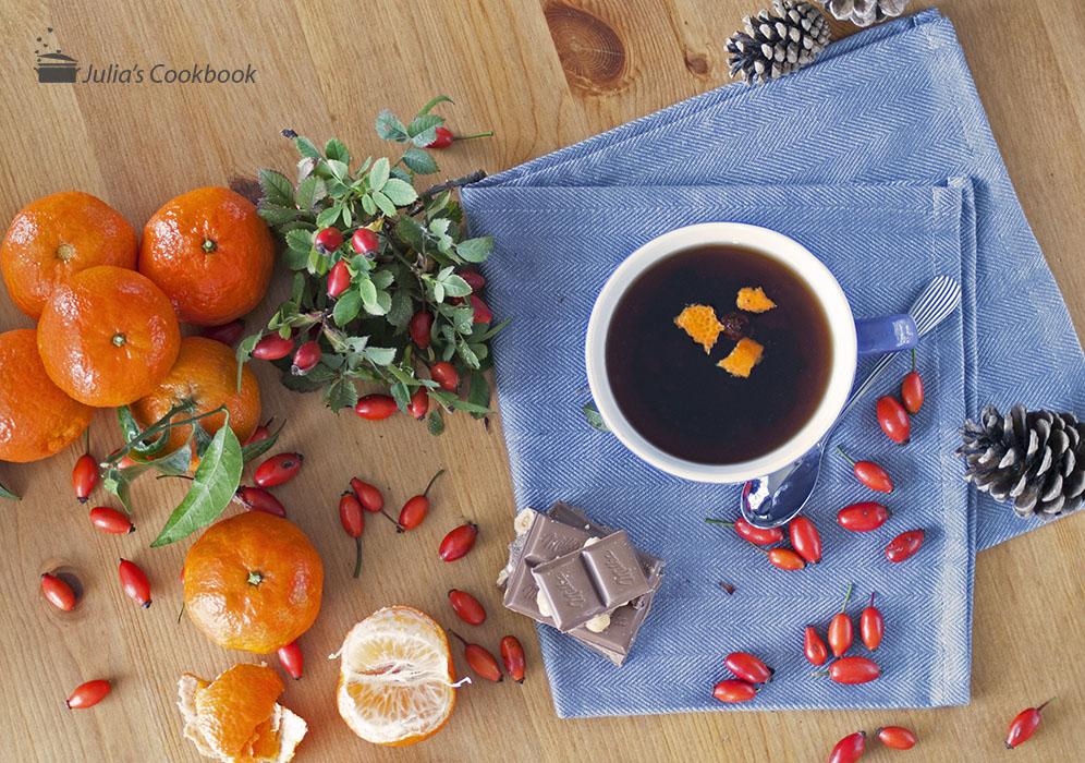 Черный чай с нотками мандарина и шиповником