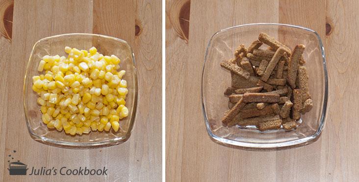 Кукуруза и сухарики