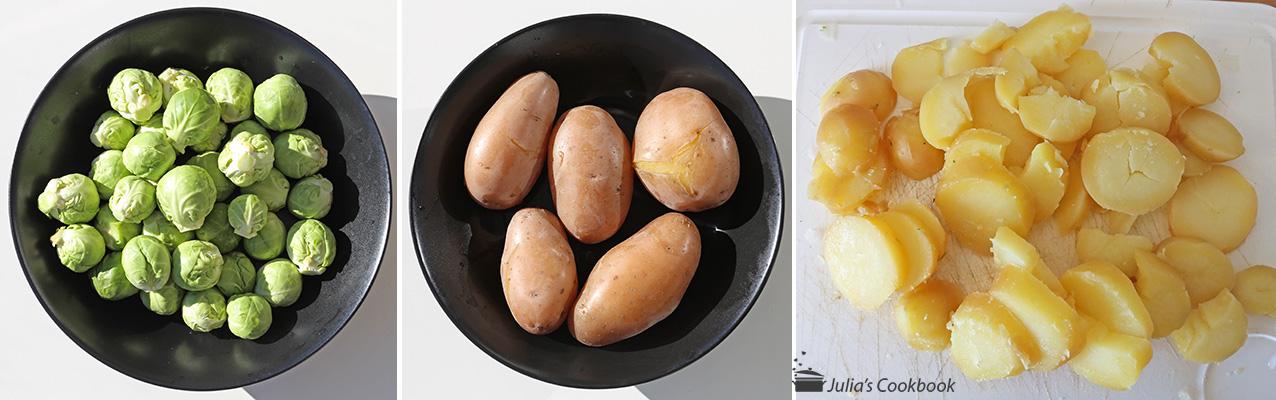 Брюссельская капуста с картофелем и беконом