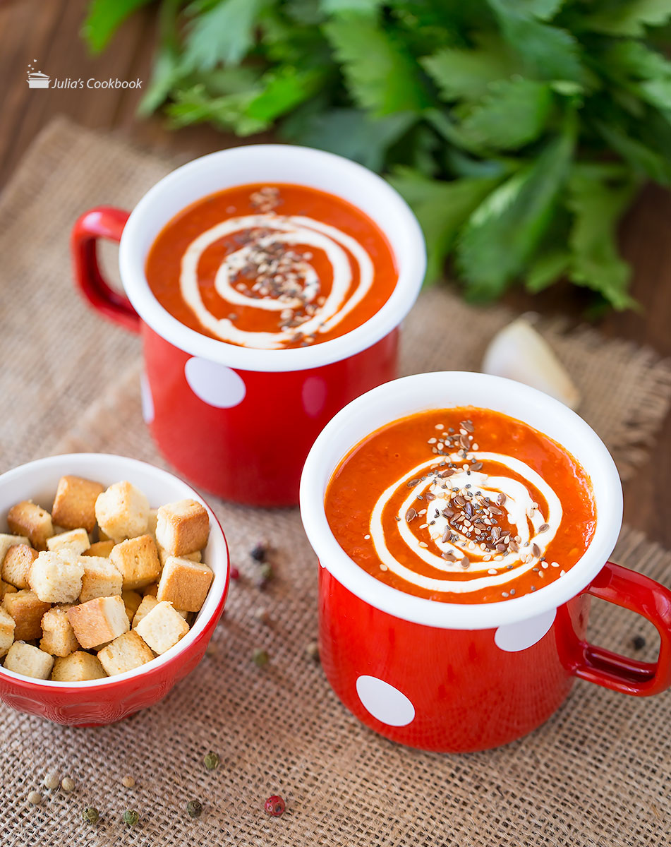 Суп из печеных перцев и томатов